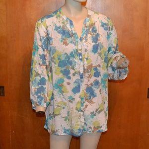 Avenue Blue Green Abstract Print Button Shirt 22